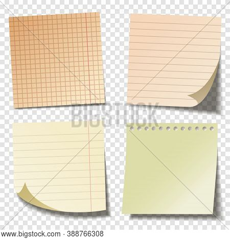 Realistic Blank Sticky Notes. Colored Sheets Of Note Papers. Paper Reminder. Vector Illustration.