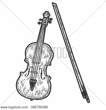 Musical Instrument, Cello. Sketch Scratch Board Imitation. Black And White.