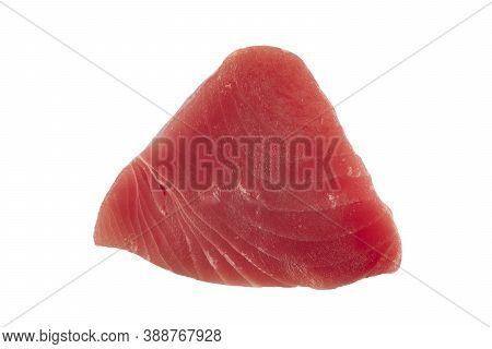 Yellow Fin Tuna Steak Isolated On White Background. Fresh Rare Tuna Steak Isolated On White. Raw Yel