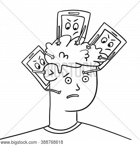 Guys Head Is Busy With Phones, Flat Banner. The Guys Head Is Busy With Phones, Flat Banner. The Infl
