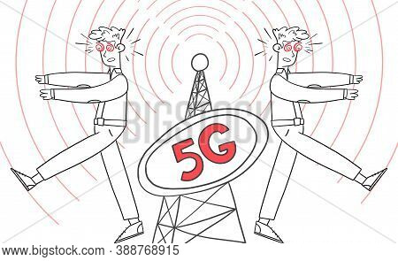 People Like Zombies Near 5g Telecommunication Equipment, Vector Illustration. Men Go Under Hypnosis