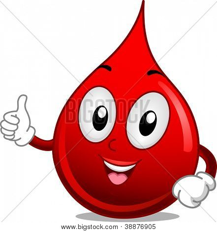 Mascot Illustration Featuring a Drop of Blood Giving a Thumbs Up poster