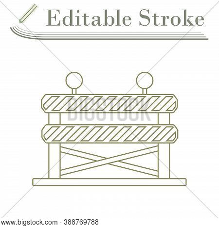 Icon Of Construction Fence. Editable Stroke Simple Design. Vector Illustration.