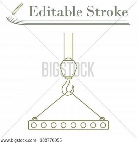 Icon Of Slab Hanged On Crane Hook By Rope Slings. Editable Stroke Simple Design. Vector Illustration