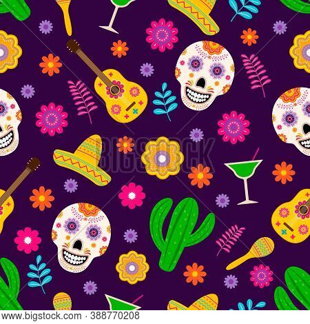 Dia De Los Muertos Seamless Pattern Of Traditional Mexican Symbols. Easy To Edit Vector Template For