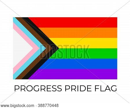 Progress Pride Rainbow Flags. Symbol Of Lgbt Community. Vector Flag Sexual Identity. Easy To Edit Te