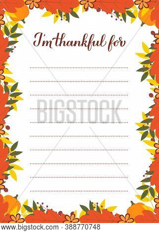 Thanksgiving Thankful List, I M Thankful For Calligraphy Hand Lettering In Autumn Fall Leaves Frame.