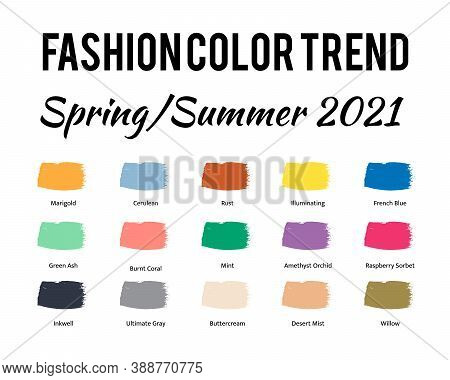 Fashion Color Trend Spring Summer 2021. Trendy Colors Palette Guide. Brush Strokes Of Paint Color Wi