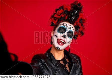 Closeup Photo Of Funny Folklore Witch Creature Character Death Day Facial Creepy Makeup Masquerade.