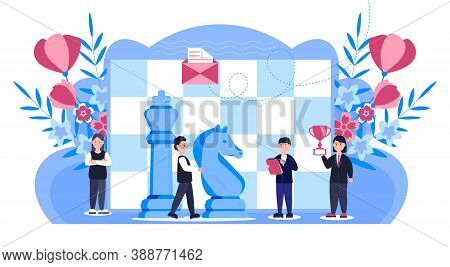 Chess Game Concept Vector. People Work. Business, Marketing Strategy Illustration With Flower, Leave