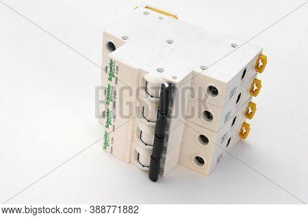 Kharkov, Ukraine - October 08, 2020 : Schneider Electric Circuit Breakers On White Background. Schne