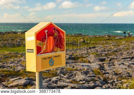Atlantic Ocean Coast, Ireland- 07 November 2015: Lifebuoy On The Rocky Coast Of The North Atlantic O