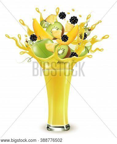 Yellow Fruit Juice Splash. Whole And Sliced Apple, Mango, Kiwi And Blackberry  In A Sweet Yellow Jui