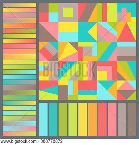 Bright Harmonious Color Palette With Geometric Composition Of Colorful Squares. Seamless Pattern Wit