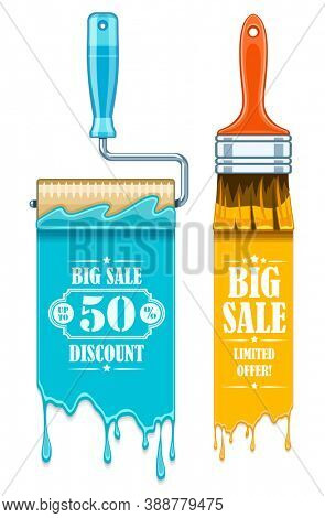 Sale banner with maintenance tools brushes and rollers for paint works. Isolated on white background. 3D illustration.