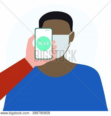Vector Illustration Phone Placed On Forehead Of Person Remotely Measures Temperature. New Technology