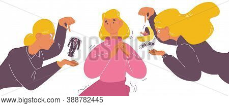 Woman Sure Of Her Way In Life And Priority Of Lifestyle. Career Or Kids And Family First Choise. Blo