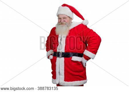 Smiling Santa Claus On White Background. Happy Santa Claus With Real Beard And Hands On Belt Standin
