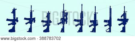 Set Of Gun Cartoon Icon Design Template With Various Models. Vector Illustration Isolated On Blue Ba