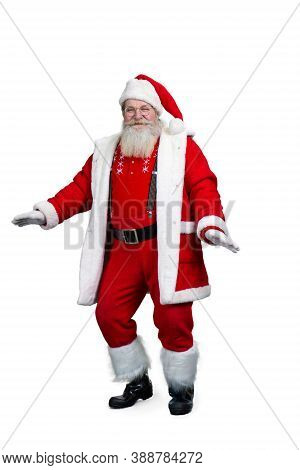 Santa Claus Dancing, White Background. Cheerful Santa Claus Dancing Isolated On White Background. Se