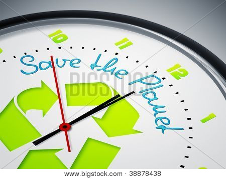 An image of a nice clock with Save the Planet
