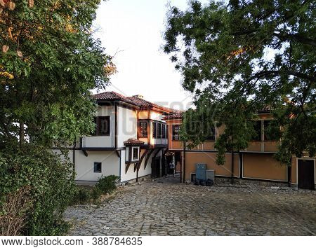 Plovdiv, Bulgaria - September 4, 2020: Street And Nineteenth Century Houses In Architectural And His