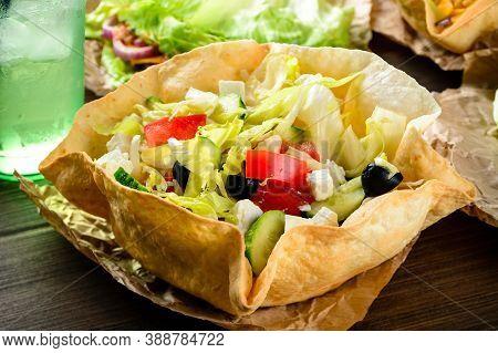 Taco Salad In Freshly Baked Flour Tortilla Bowl, Taco Salad In A Tortilla Bowl