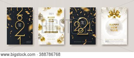 Set Of Greeting Card With Golden 2021 New Year Logo. New Year Glitter Gold Sign, Vector Illustration