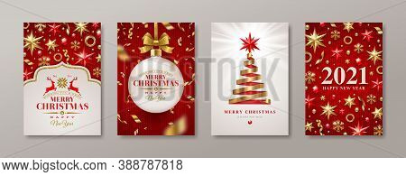 Set Of Christmas And New Year Greeting Card. 2021 New Year Poster. Background With Christmas Tree An