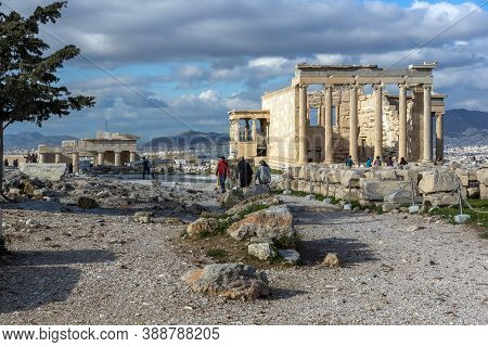 Athens, Greece - January 20, 2017:  People Visiting The Acropolis Of Athens, Attica, Greece