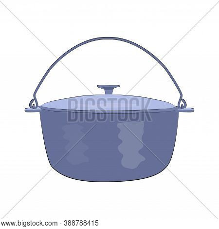 Icon Metal Hiking Pot Or Cauldron In Flat Style. Hiking Pot For Tourism And Cooking On A Fire, Hikin