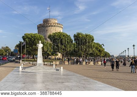 Thessaloniki, Greece - September 22, 2019: Ancient White Tower In City Of Thessaloniki, Central Mace