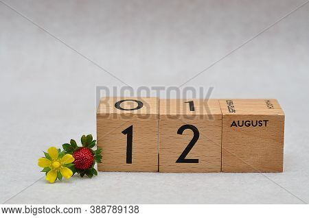 12 August On Wooden Blocks With A Strawberry And Yellow Flower On A White Background