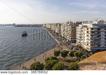 Thessaloniki, Greece - September 22, 2019:  Panoramic View From White Tower To City Of Thessaloniki,
