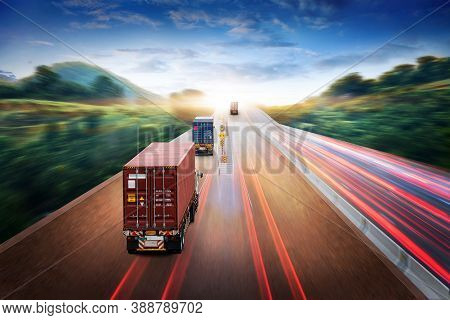 Truck Transport With Red Container On Highway Road At Sunset, Motion Blur Effect, Logistics Import E