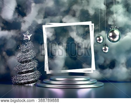 Beautiful Luxury New Year Christmas Holiday Background. 3D Illustration, 3D Rendering. 3D ..illustra