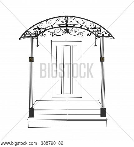 Sketch Of Forged Metal Elements With Antique Ornaments. Artistic Forging Forged Stair Railing Visor