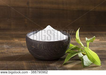 Natural Sweetener In Powder From Stevia Plant - Stevia Rebaudiana.