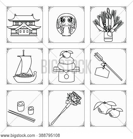 Symbols Of The Japanese New Year 2021. Castle, Daruma, Treasure Ship, Tangerine, Arrows, Food, Rolls