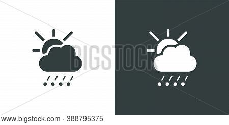 Hail And Rain, Cloud And Sun. Isolated Icon On Black And White Background. Weather Glyph Vector Illu