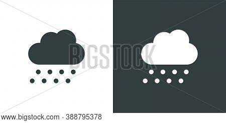Hail And Cloud. Isolated Icon On Black And White Background. Weather Glyph Vector Illustration