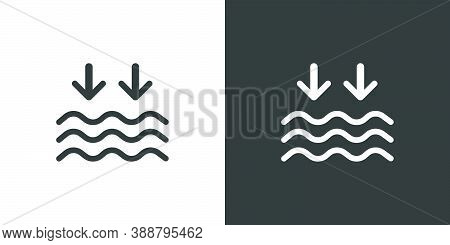 Low Tide. Waves On The Sea. Isolated Icon On Black And White Background. Weather Glyph Vector Illust