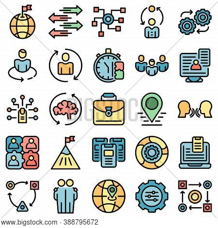 Adaptation Icons Set. Outline Set Of Adaptation Vector Icons Thin Line Color Flat On White
