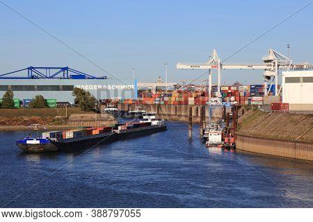 Duisburg, Germany - September 18, 2020: River Traffic In Port Of Duisburg, Germany. Port Of Duisburg