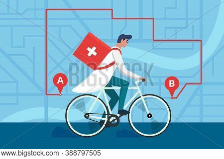 Medicine Pharmacy Delivery. Male Doctor Riding Bicycle With Medical Surgical Sanitary Box First Aid