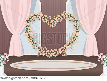 Wedding Hall Photozone Flat Color Vector Illustration. Floral Arch In Heart Shape. Luxurious Event D