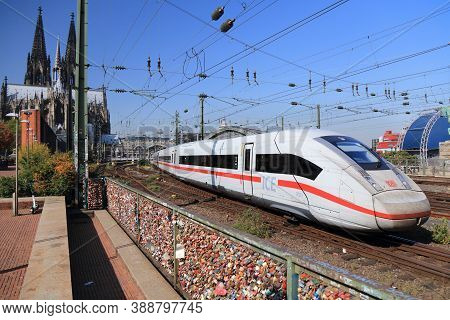Cologne, Germany - September 22, 2020: Intercity Train Of Deutsche Bahn (german Railways) Departing