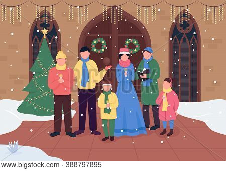 Christmas Church Choir Flat Color Vector Illustration. Singing Carol Songs. Worship Gatherings. Happ