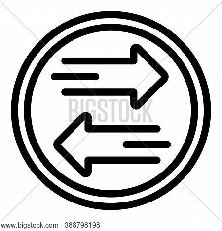 Arrow Coin Comparison Icon. Outline Arrow Coin Comparison Vector Icon For Web Design Isolated On Whi