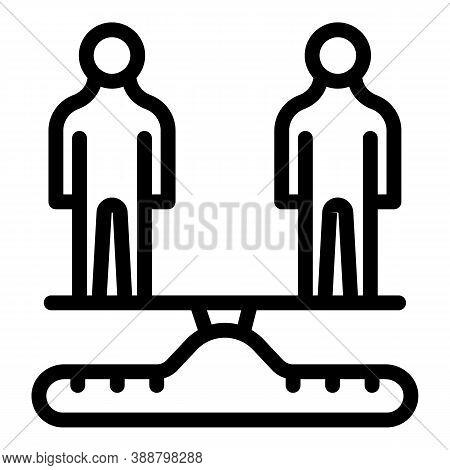 Person Scales Comparison Icon. Outline Person Scales Comparison Vector Icon For Web Design Isolated